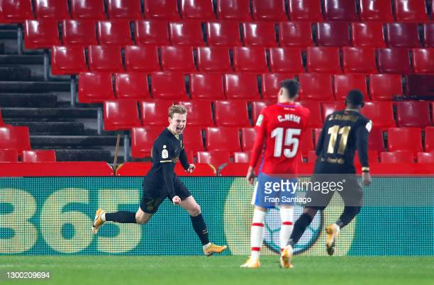 Frenkie de Jong of FC Barcelona celebrates after scoring their side's fourth goal during the Copa del Rey match between Granada and Barcelona at...