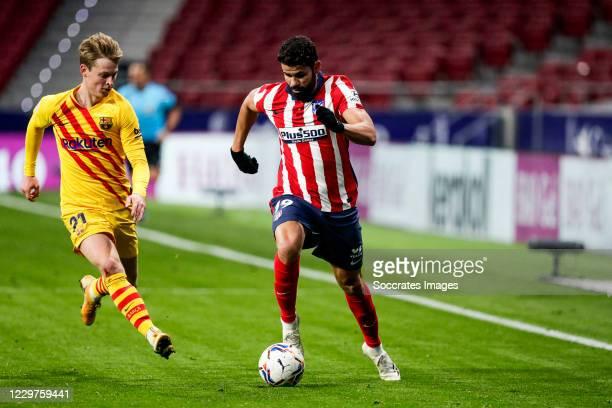 Frenkie de Jong of FC Barcelona, Diego Costa of Atletico Madrid during the La Liga Santander match between Atletico Madrid v FC Barcelona at the...