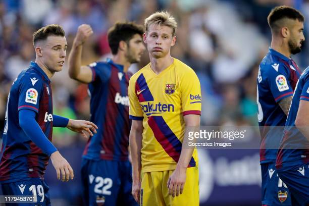 Frenkie de Jong of FC Barcelona during the La Liga Santander match between Levante v FC Barcelona at the Estadi Ciutat de Valencia on November 2 2019...
