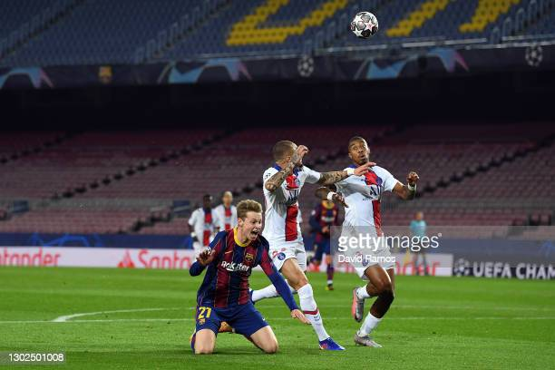 Frenkie de Jong of FC Barcelona is fouled by Layvin Kurzawa of Paris Saint-Germain in the box which leads to a penalty being given to FC Barcelona...