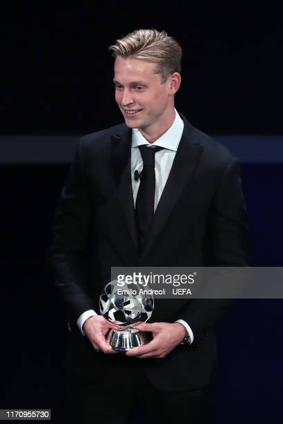 Frenkie de Jong of FC Barcelona looks on after receiving the UEFA Champions League Midfielder of the Season 2018/19 Award during the UEFA Champions...