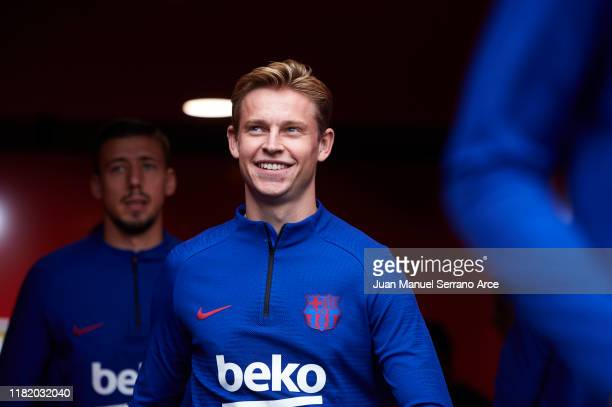 Frenkie de Jong of FC Barcelona looks on during the warm up prior to the Liga match between SD Eibar SAD and FC Barcelona at Ipurua Municipal Stadium...