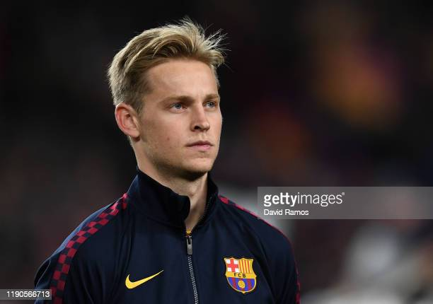 Frenkie de Jong of FC Barcelona looks on prior to the UEFA Champions League group A match between Real Madrid and Paris SaintGermain at Bernabeu on...