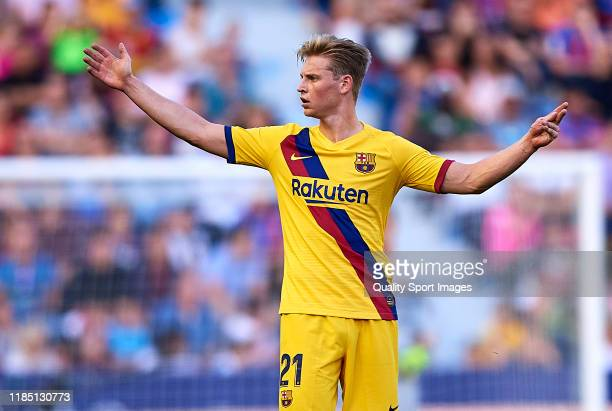 Frenkie De Jong of FC Barcelona reacts during the Liga match between Levante UD and FC Barcelona at Ciutat de Valencia on November 02 2019 in...