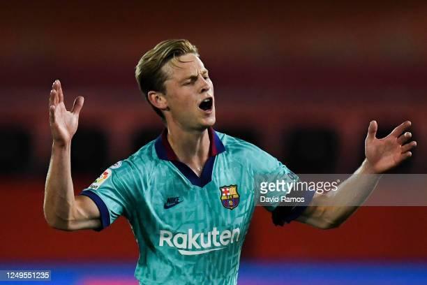 Frenkie de Jong of FC Barcelona reacts during the Liga match between RCD Mallorca and FC Barcelona at Estadio de Son Moix on June 13, 2020 in...