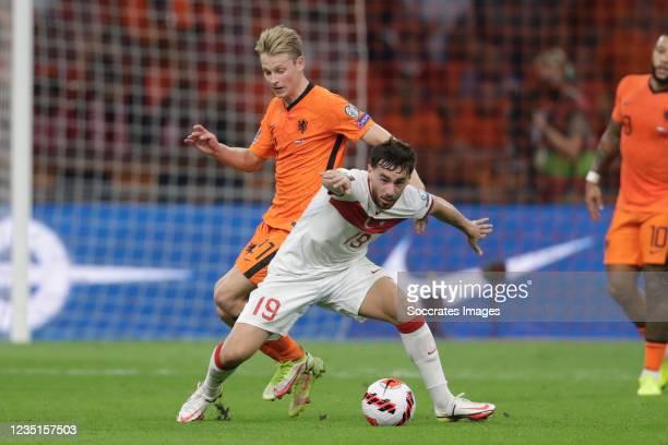 Frenkie de Jong of Holland, Orkun Kokcu of Turkey during the World Cup Qualifier match between Holland v Turkey at the Johan Cruijff Arena on...