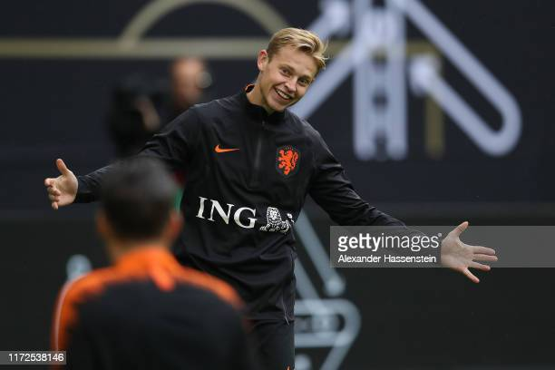 Frenkie de Jong of Holland smiles during a training session of the Netherlands national team prior to the UEFA Euro 2020 Qualifier match against...