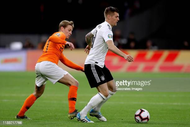 Frenkie de Jong of Holland Toni Kroos of Germany during the EURO Qualifier match between Holland v Germany at the Johan Cruijff Arena on March 24...