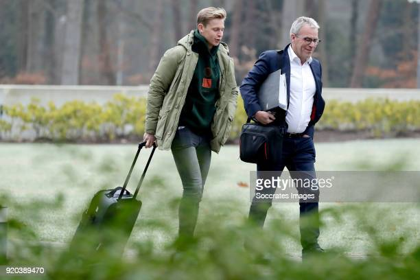 Frenkie de Jong of Holland U21 director Eric Gudde during the Arrival Holland U21 at the KNVB campus at the KNVB Campus on February 19 2018 in Zeist...
