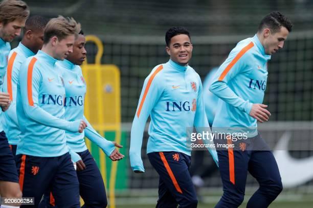 Frenkie de Jong of Holland U21 Steven Bergwijn of Holland U21 Justin Kluivert of Holland U21 Oussama Idrissi of Holland U21 during the Training...