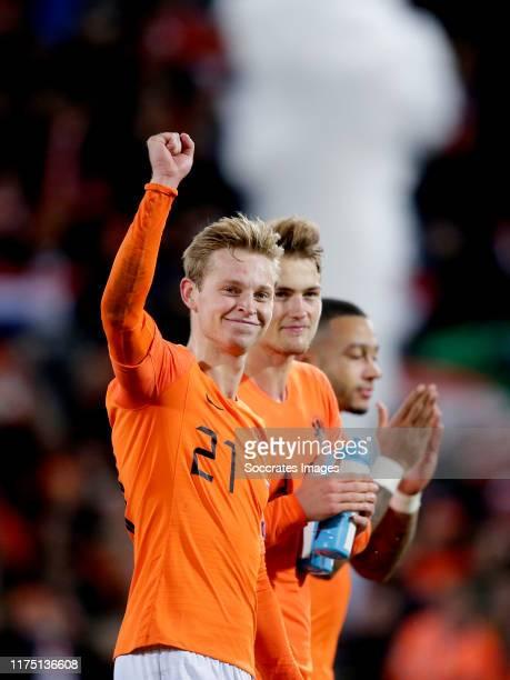 Frenkie de Jong of Holland, Virgil van Dijk of Holland celebrates the victory during the EURO Qualifier match between Holland v Northern Ireland at...