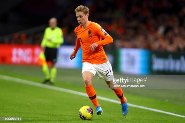 Frenkie de Jong of Netherlands in action during the UEFA Euro 2020 Qualifier between The Netherlands and Estonia on November 19, 2019 in Amsterdam,...