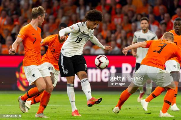 Frenkie de Jong of Netherlands Leroy Sane of Germany and Matthijs de Ligt of Netherlands battle for the ball during the UEFA Nations League A group...