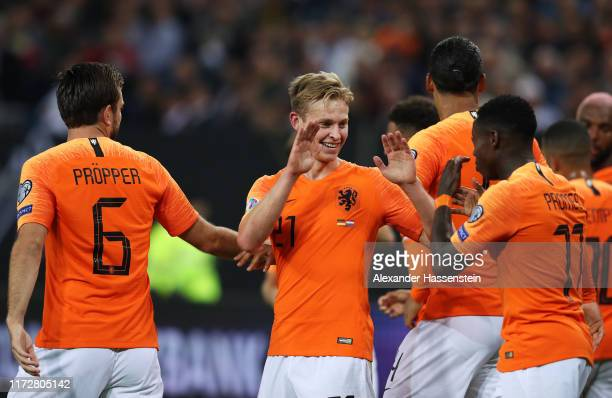 Frenkie De Jong of the Netherlands celebrates with teammates after scoring his team's first goal during the UEFA Euro 2020 qualifier match between...