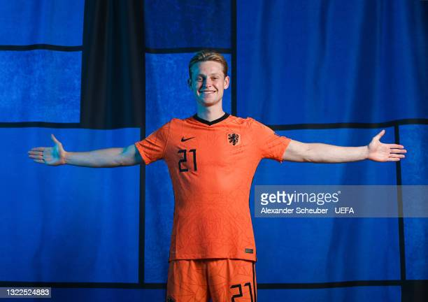 Frenkie de Jong of the Netherlands poses during the official UEFA Euro 2020 media access day on June 07, 2021 in Zeist, Netherlands.
