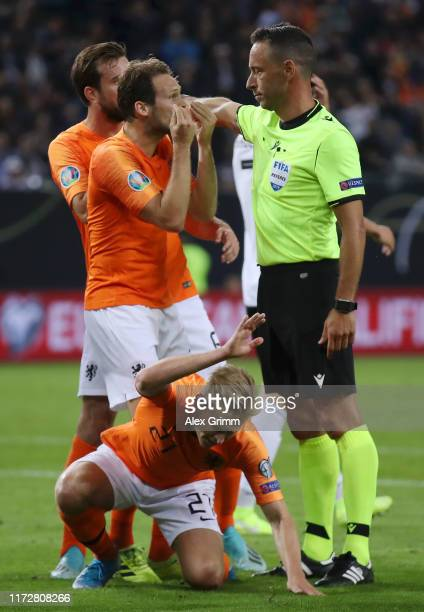 Frenkie De Jong of the Netherlands reacts after referee Artur Soares Dias awards Germany a penalty during the UEFA Euro 2020 qualifier match between...