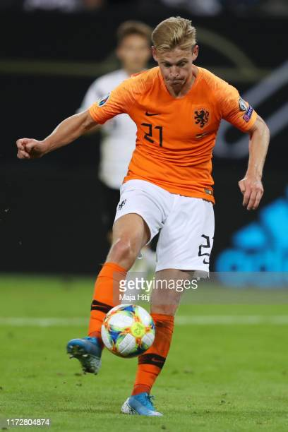 Frenkie De Jong of the Netherlands scores his team's first goal during the UEFA Euro 2020 qualifier match between Germany and Netherlands at...