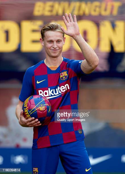 Frenkie De Jong poses at Camp Nou during his unveiling on July 05 2019 in Barcelona Spain