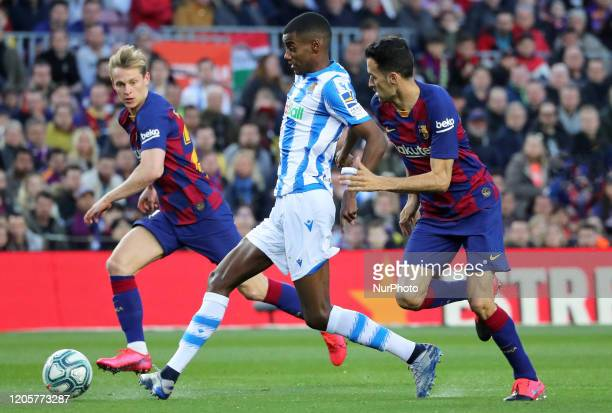 Frenkie de Jong Sergio Busquets and Alexander Isak during the match between FC Barcelona and Real Sociedad corresponding to the week 27 of the Liga...