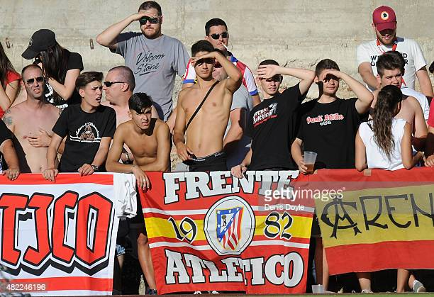 Frente Atletico Ultra fans look on during the Jesus Gil y Gil Memorial preseason friendly match between Numancia and Club Atletico de Madrid at the...