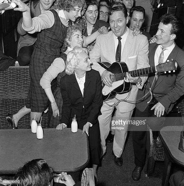 Frenzied scenes as American rock and roll singer Bill Haley arrives in London 5th February 1957