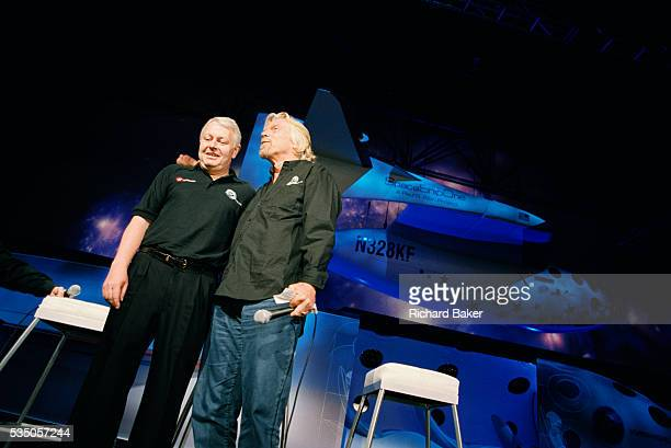 Frequent flyer astronaut Alan Watts is presented to the media and space industry commentators by Sir Richard Branson during the Wired NextFest...
