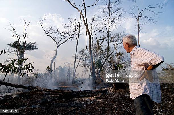 Frere Henri Burin Des Roziers looks at a fire burning trees from the forest about 110 km from Xinguara, state of Para, Brazil. Roziers has endured...