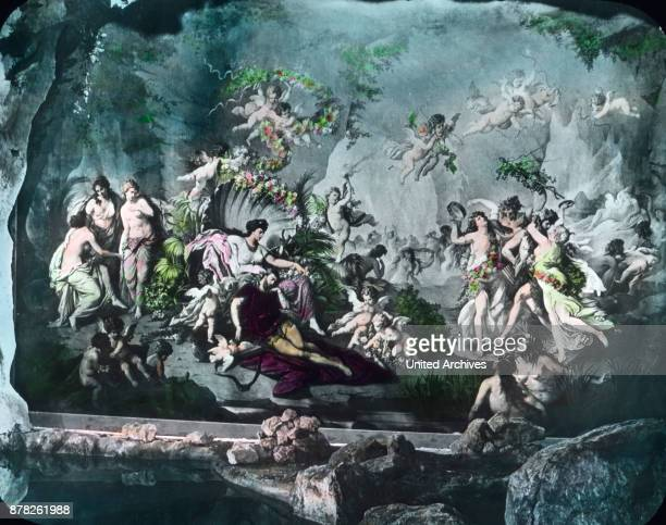 Fresco at the wall of the 'Blue Grotto' at Linderhof castle at Ettal in Bavaria