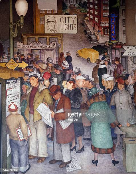 "Fresco based on theme of ""Aspects of California Life,"" showing rich and poor pedestrians at a busy city intersection. Most congregate at a busy..."