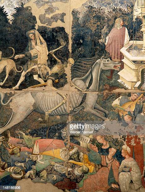 Fresco by an anonymous painter depicting 'The Triumph of Death' Death as a skeleton rides a skeletal horse and picks off his victims Italy 1445 Sicily