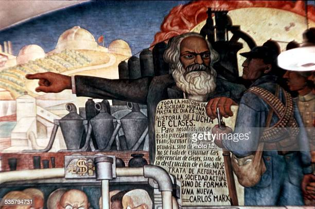 Fresco by Diego Rivera Marx talking to Latin American peoples Mexico Palace of the government 20th Mexico Photo Guermeur