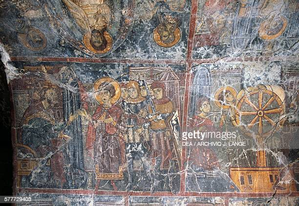 Fresco by Ioannis Pagomenos in the Church of Agios Georgios Anidri Crete Greece 14th century