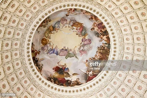 fresco decorating the rotunda of the united state capitol - united states capitol rotunda stock pictures, royalty-free photos & images