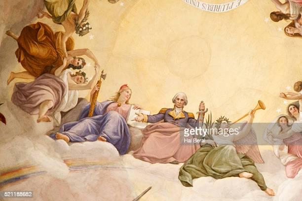 fresco decorating the rotunda of the united states capitol - united states capitol rotunda stock pictures, royalty-free photos & images