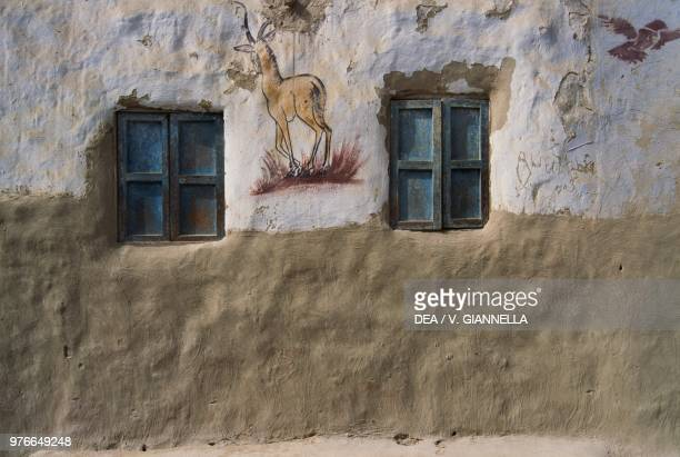 Fresco depicting a gazelle which testifies that the owner went on a pilgrimage to Mecca Sahara desert Egypt
