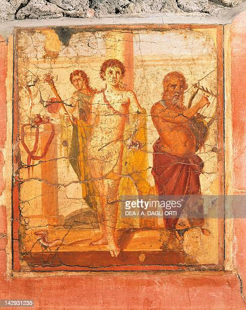 Fresco depicting a hermaphrodite and a silenus House of the Centenary Pompeii Campania Roman Civilization 1st Century