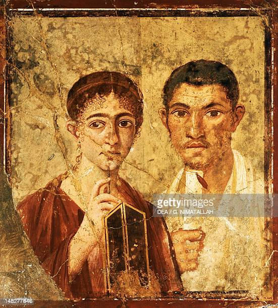 Fresco depicting a portrait of Paquio Proculo and his wife from Pompeii Campania Roman Civilization 1st Century Naples Museo Archeologico Nazionale