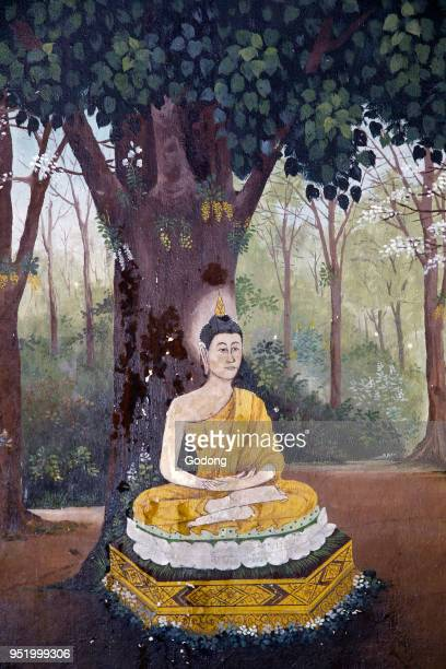 Fresco depicting a scene of the Buddha's life in Wat Phra Doi Suthep Chiang Mai Buddha meditating under a tree Thailand