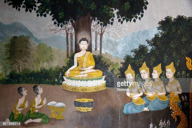 Fresco depicting a scene of the Buddha's life in Wat Phra Doi Suthep Chiang Mai Buddha receiving alms Thailand
