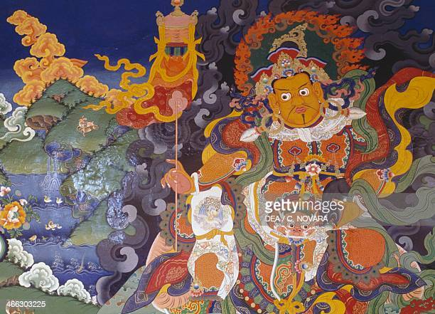 Fresco depicting colourful deities Lamayuru Buddhist Monastery The Himalayas Ladakh district state of Jammu and Kashmir India 10th century