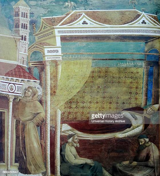 Fresco depicting Pope Innocent III's dream of the collapsing Lateran Basilica and its preservation by St Francis Created by Giotto Italian painter...