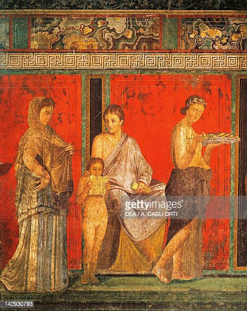 Fresco depicting the ceremony of initiation into the cult of Dionysus from Villa of the Mysteries Pompeii Campania Roman Civilization 1st Century