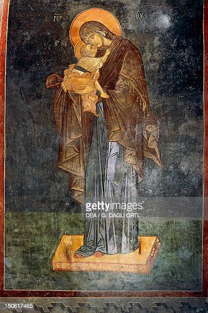Fresco depicting the Virgin and Child of the type known as Eleousa Misericodiosa early 1300 Church of St Saviour in Chora historic areas of Istanbul...