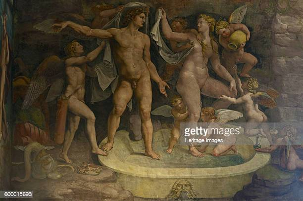 Fresco detail from the Chamber of Amor and Psyche, 1526-1534. Found in the collection of Palazzo del Te, Mantua. Artist : Romano, Giulio .