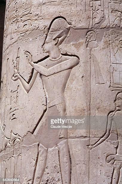 Fresco detail in Philae Temple dedicated to the Egyptian goddess Isis on Agilkia island on the River Nile around Aswan