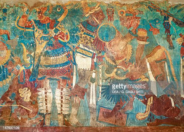 Fresco from Cacaxtla Tlaxcala PreColombian Civilization 9th Century Cacaxtla Archaeological Site Tlaxcala