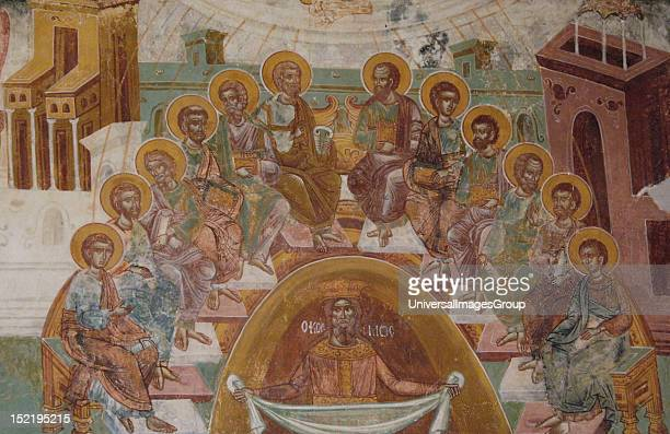 Fresco from the Monastery of St Andrew in Mesovouni Volimes Anonymous 17th century Jesus and the Apostles the washing of feet Byzantine Museum Zante...