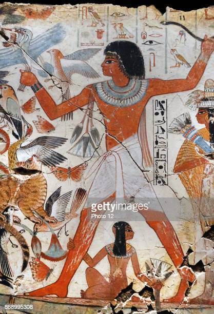 Fresco from the tomb of Nebamun, shows Nebamun on a small papyrus boat with his wife Hatshepsut behind him and his son below. He is about to let fly...