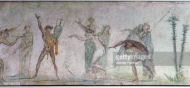 Fresco from the Villa Doria Pamphilli showing a Bacchanalian dance Italy Roman Rome