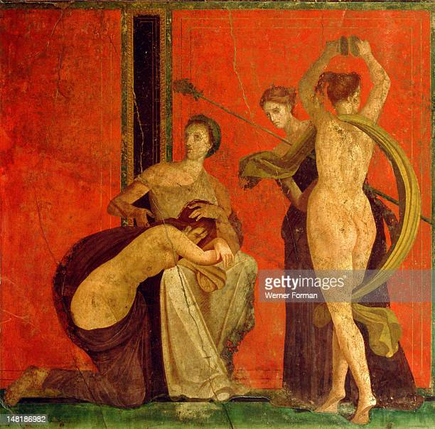 Fresco from the Villa of the Mysteries Based on similar paintings which decorated the temple of Dionysus at Pergamum Asia Minor the frescoes re enact...